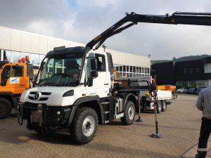 Neuer UNIMOG U219 der Ahrtal-Werke GmbH mit Palfinger PK7.561 SLD Kranaufbau